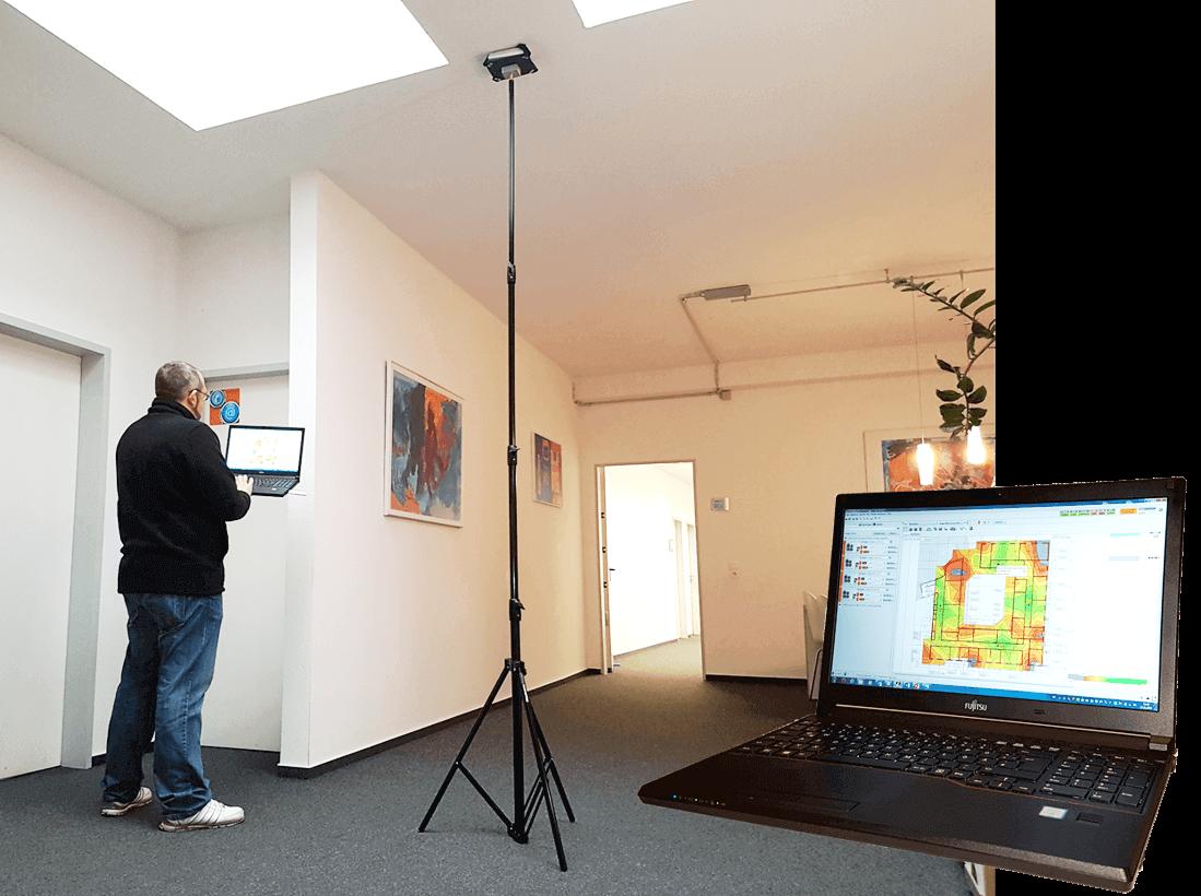 Ausführung einer WLAN-Ausleuchtung in einem Bürokomplex