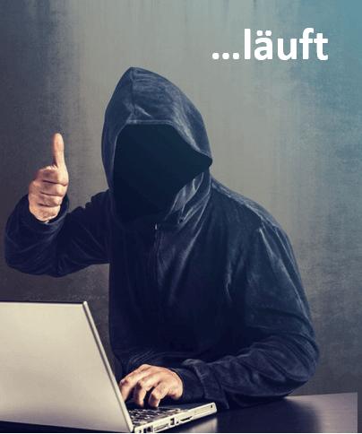 Ein Hacker der Daumen macht